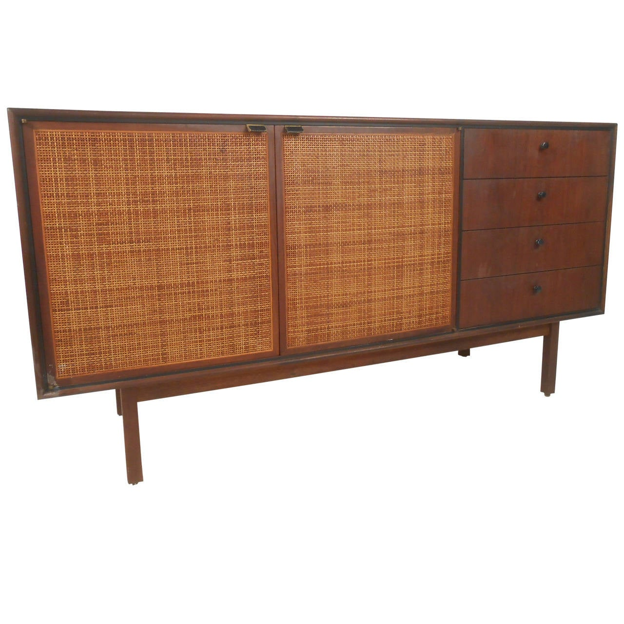 MidCentury Modern CaneFront Credenza In The Style Of Jack - Cartwright furniture