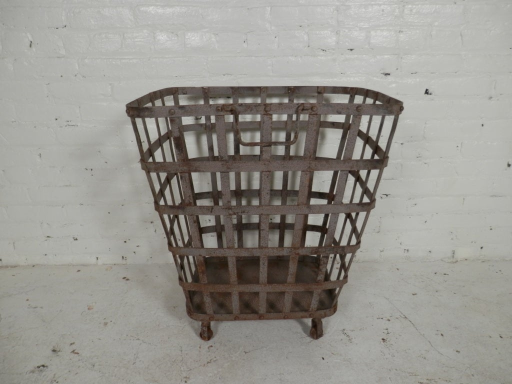 Industrial Metal Iron Bin On Casters At 1stdibs