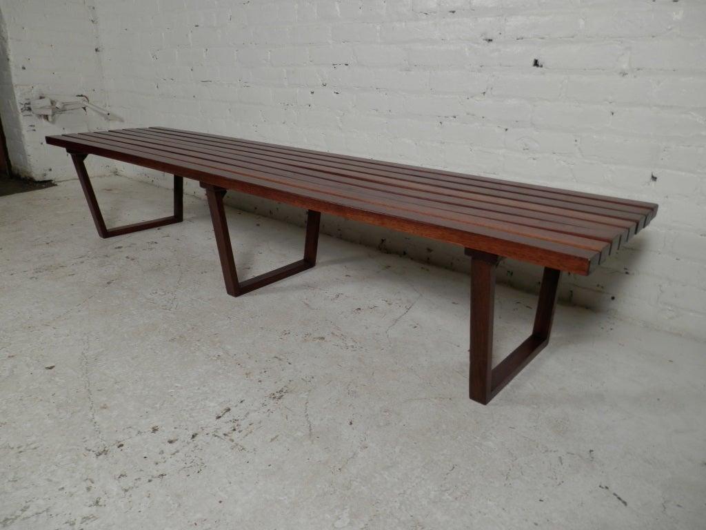 Vintage Modern Long Slat Bench At 1stdibs