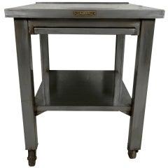 Industrial Metal Work Table w/ Sliding Shelf On Casters