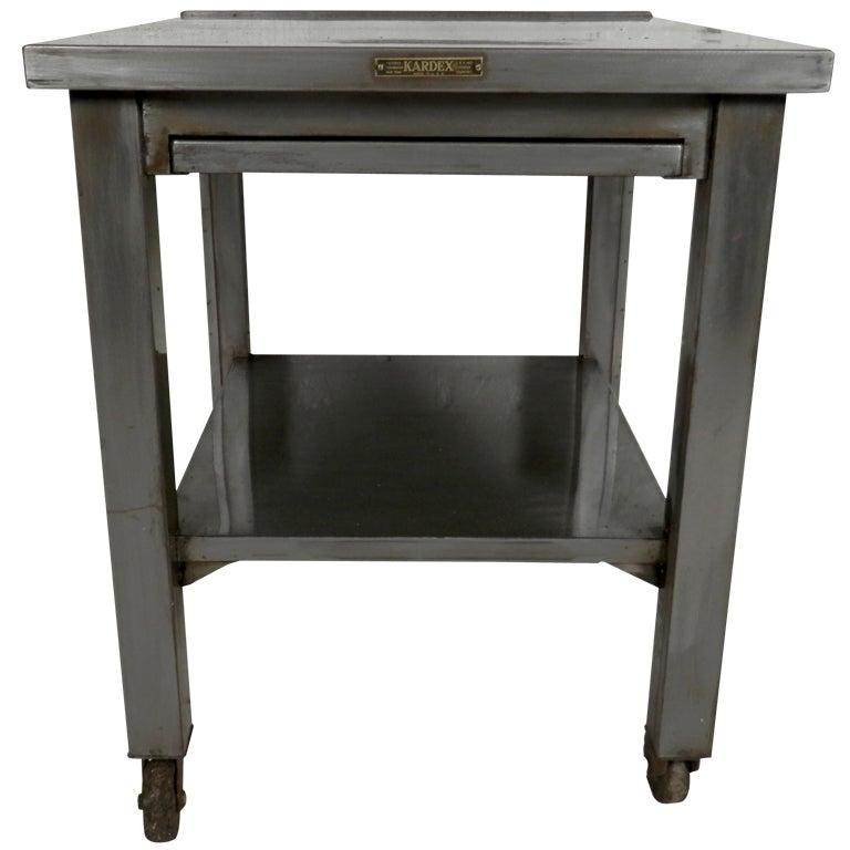 Industrial Metal Work Table W/ Sliding Shelf On Casters 1