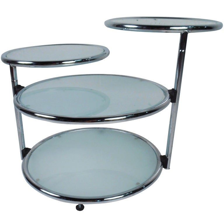 Chrome and frosted glass end table at 1stdibs Frosted glass furniture
