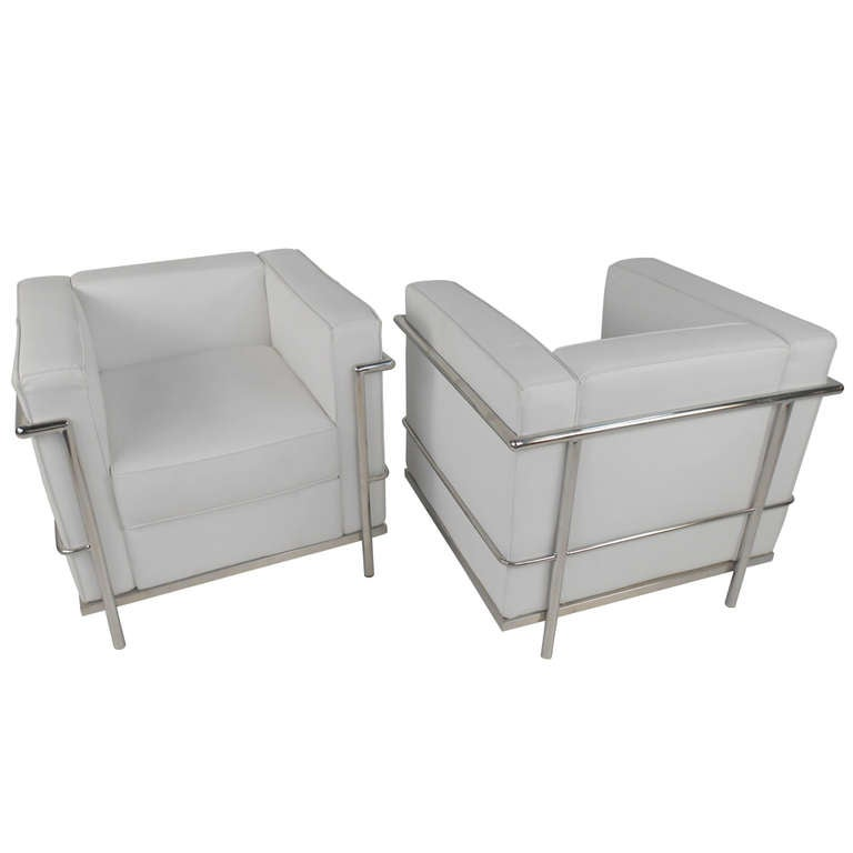 Mid Century Le Corbusier Style Leather And Chrome Lounge Chairs