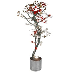 """Mid-Century Modern House Plant """"Tree"""" Sculpture"""" in the style of C. Jere"""