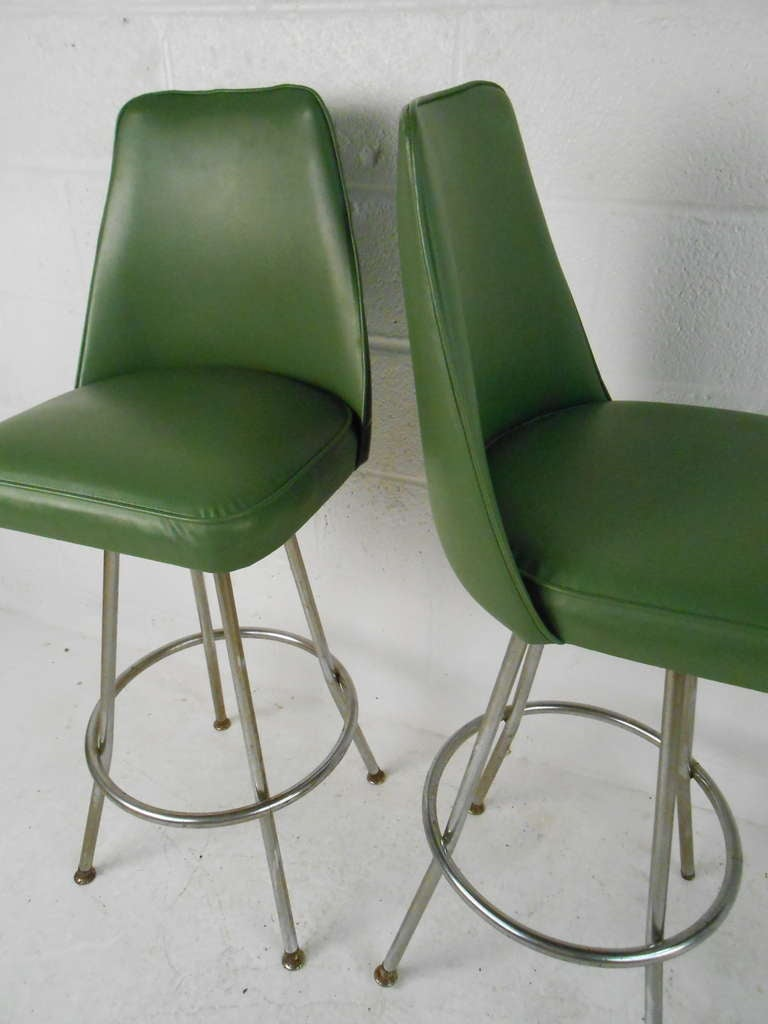 Vintage Swivel Stools By Admiral Chrome Corporation At 1stdibs