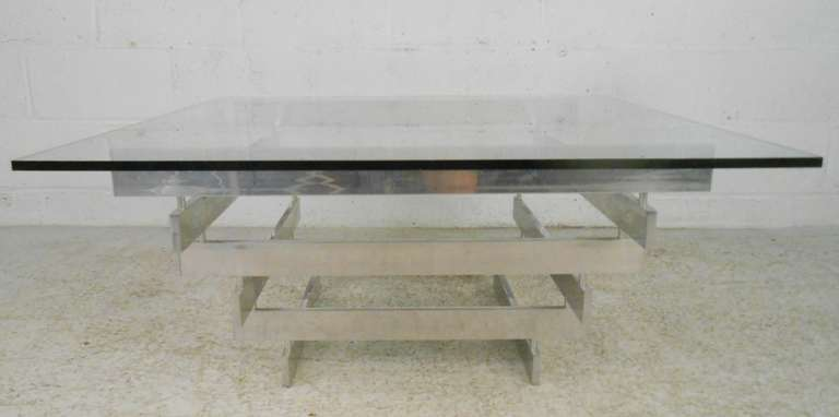 Beau Stacked Aluminium Coffee Table With Glass Top In The Style Of Paul Mayen.  Please Confirm