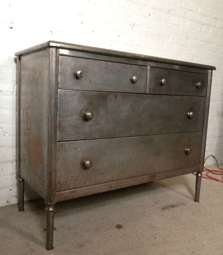 Mid Century Metal Bedroom Dresser In Rough Finish At 1stdibs