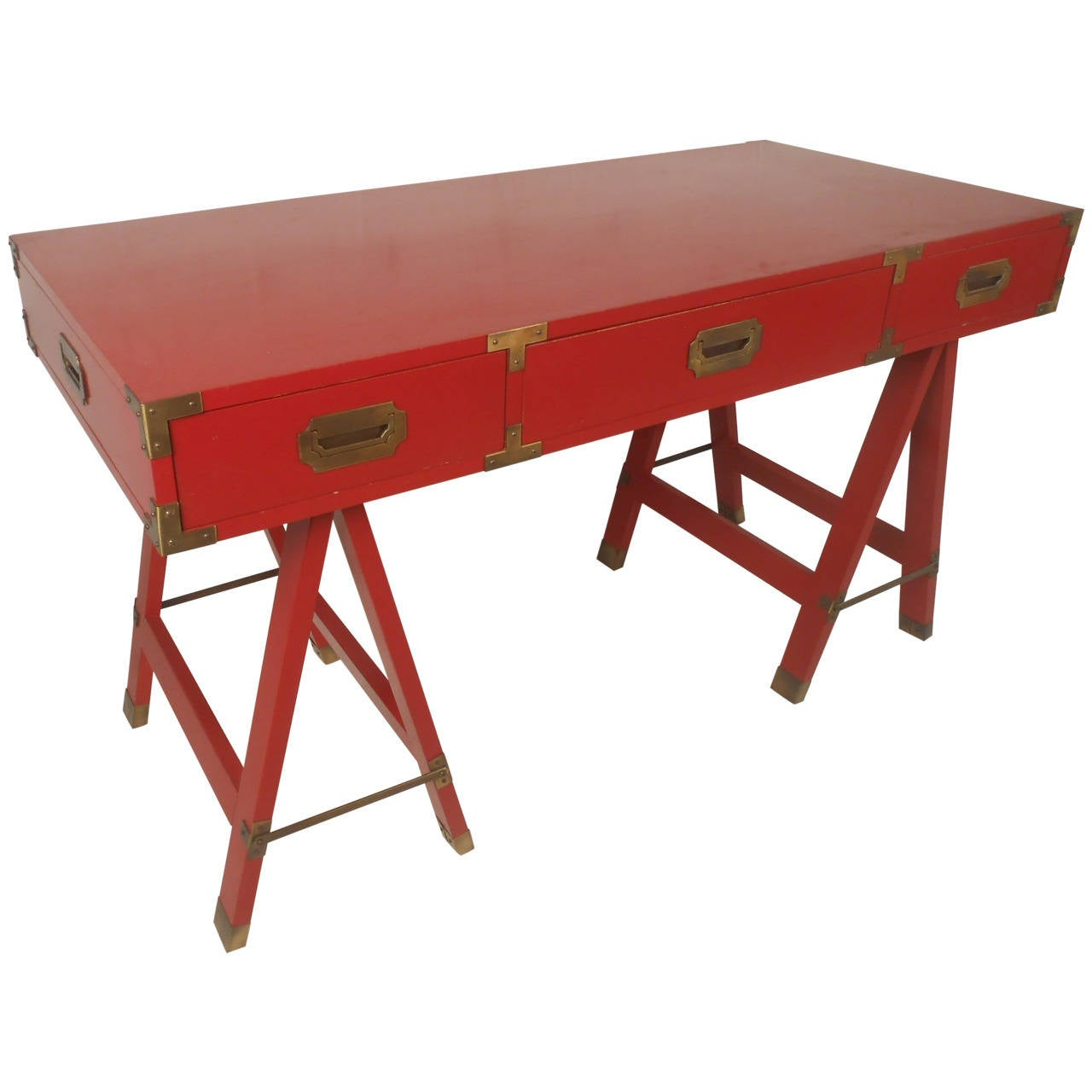 Red Campaign Desk With Brass Trim At 1stdibs
