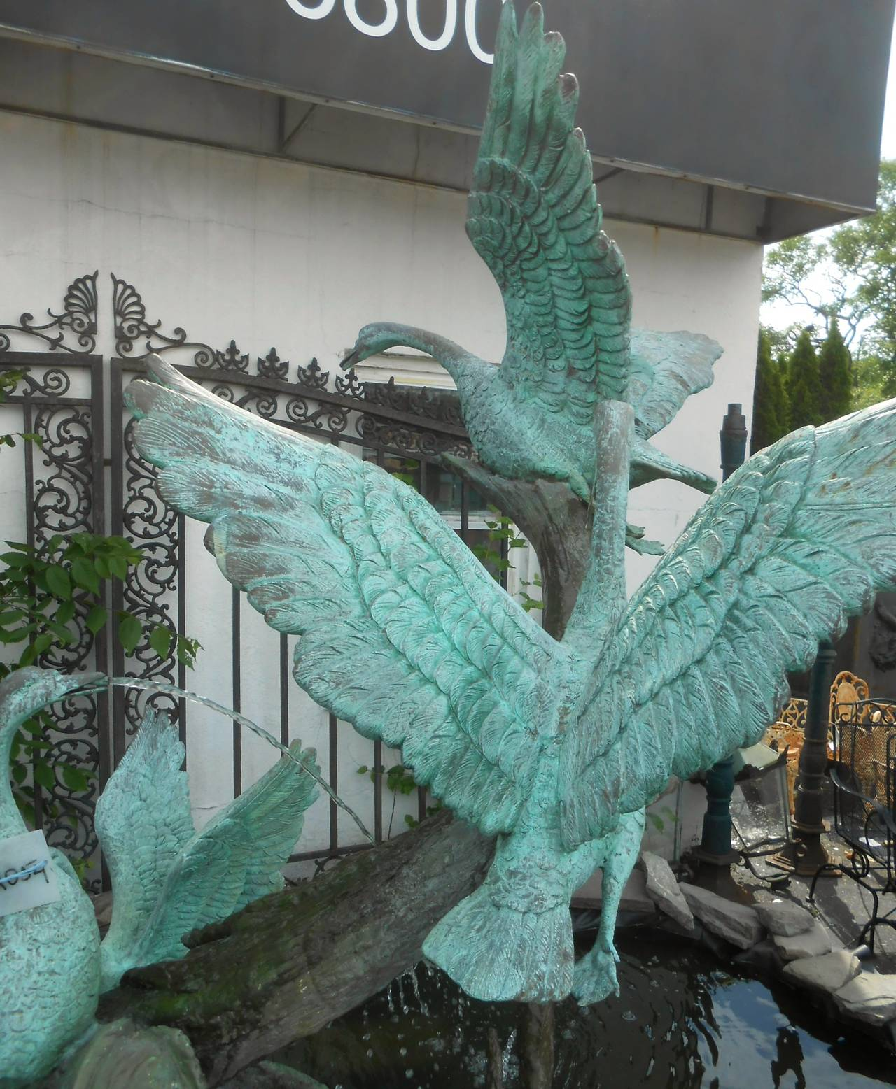 Sculptural Bronze Fountain with Flock of Birds For Sale 2