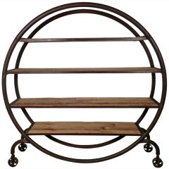 Large Industrial Metal Rolling Bookcase