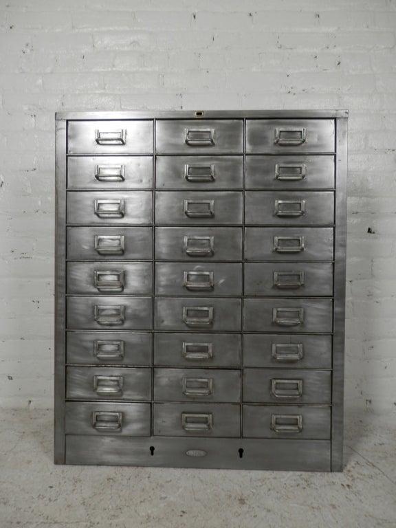 Vintage Metal Cabinets >> Twenty-Seven Drawer Industrial Metal File Cabinet at 1stdibs