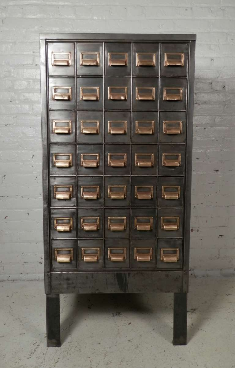 Outstanding Industrial Metal Thirty Five Drawer Card Catalog Cabinet,  Striped And Re Finished