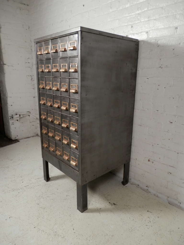 superb heavy duty metal card catalog cabinet at 1stdibs