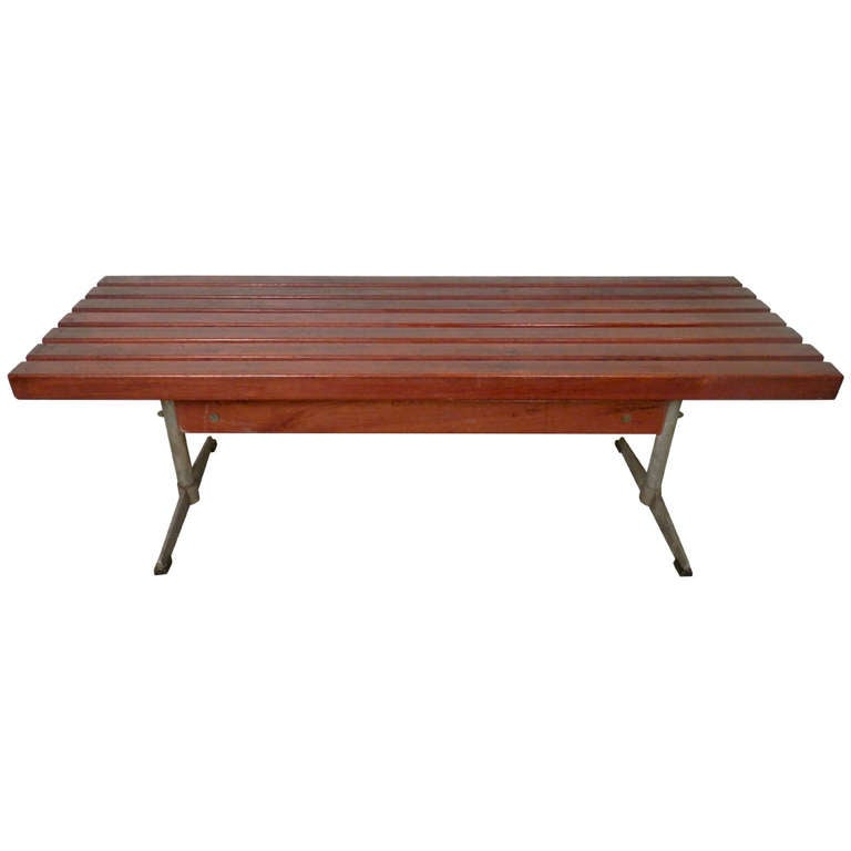 Rare Mid-Century Modern Slat Bench with Iron Base