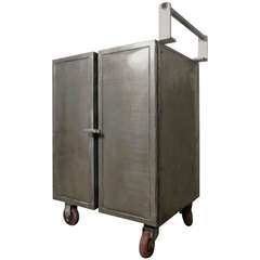 Mid Century Industrial Metal Rolling Cart