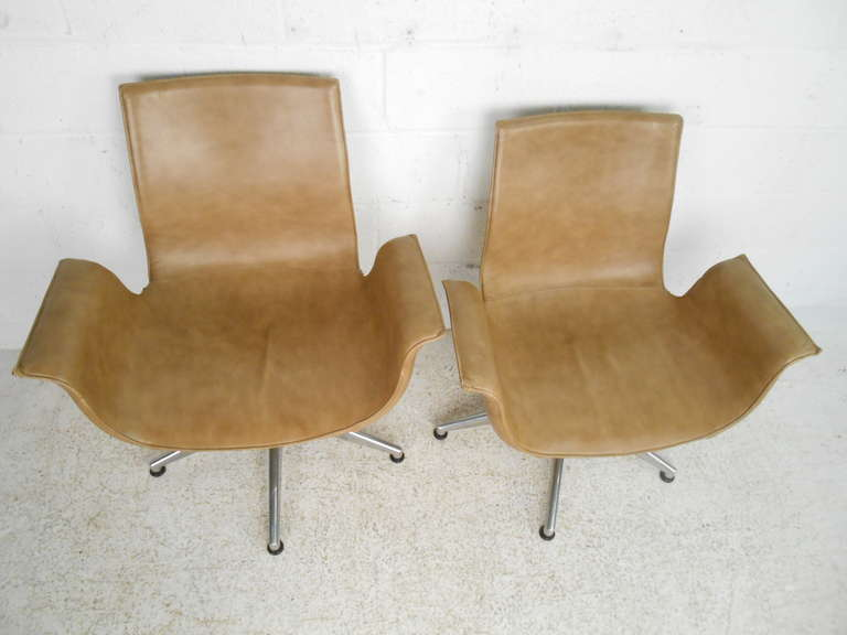 pair of leather swivel office dining chairs at 1stdibs