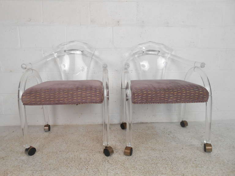 Mid-Century Modern Vintage Lucite Rolling Chairs For Sale
