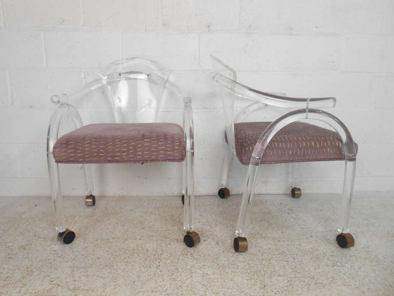 American Vintage Lucite Rolling Chairs For Sale