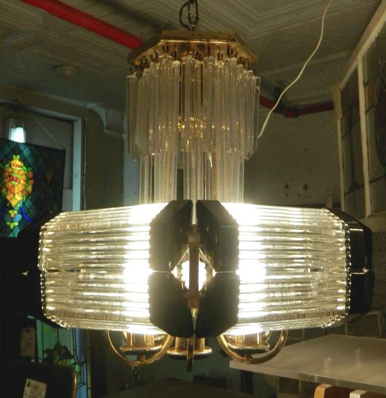 Sciolari Style Mid-Century Modern Glass Chandelier For Sale 2