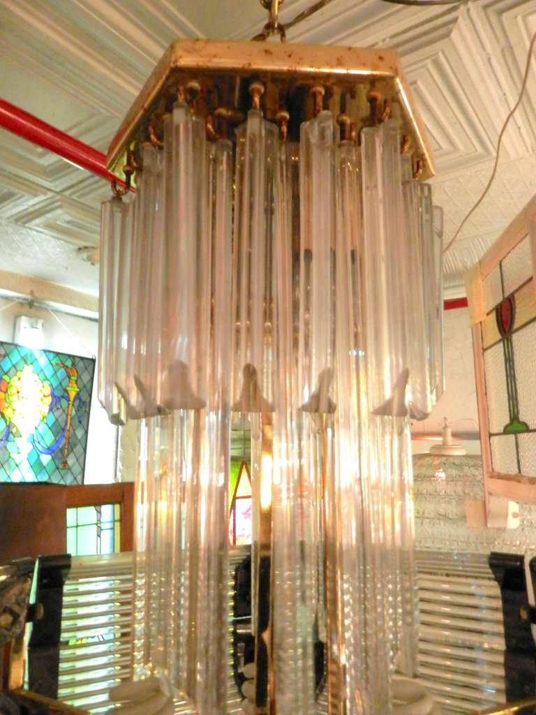 Sciolari Style Mid-Century Modern Glass Chandelier For Sale 1