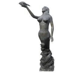 Impressive Bronze Mermaid Fountain