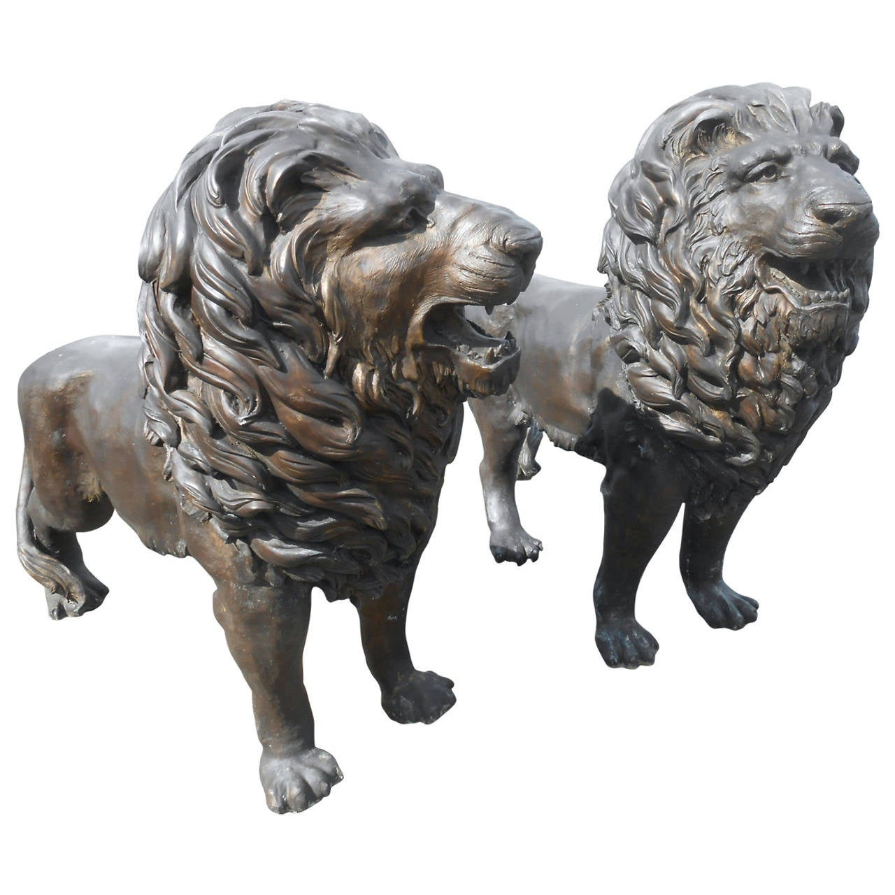 Genial Pair Of Majestic Bronze Lion Garden Statues For Sale At 1stdibs