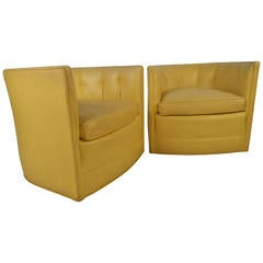 Pair of Yellow Tub Chairs by Henredon
