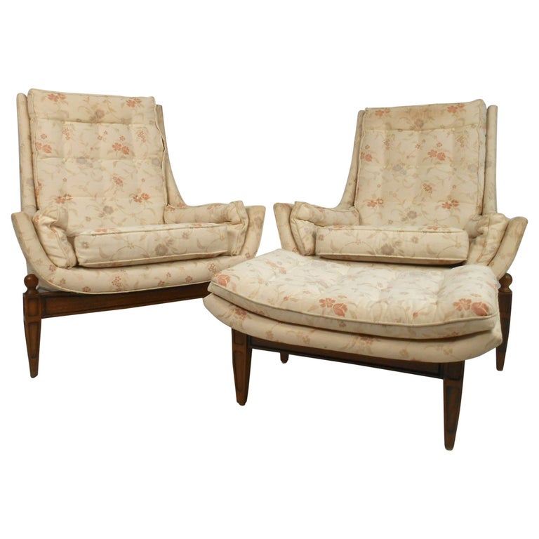 Midcentury His and Her's Lounge Chairs with Ottoman For Sale