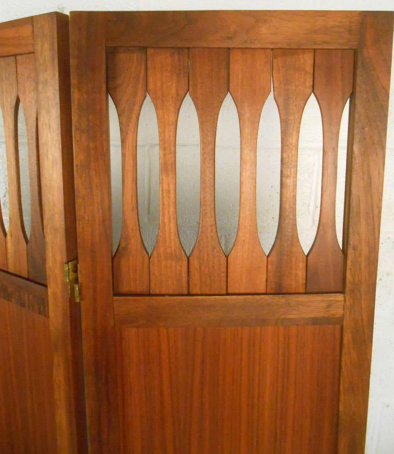Mid-20th Century Mid-Century Modern Walnut Room Divider with Brass Trim For Sale