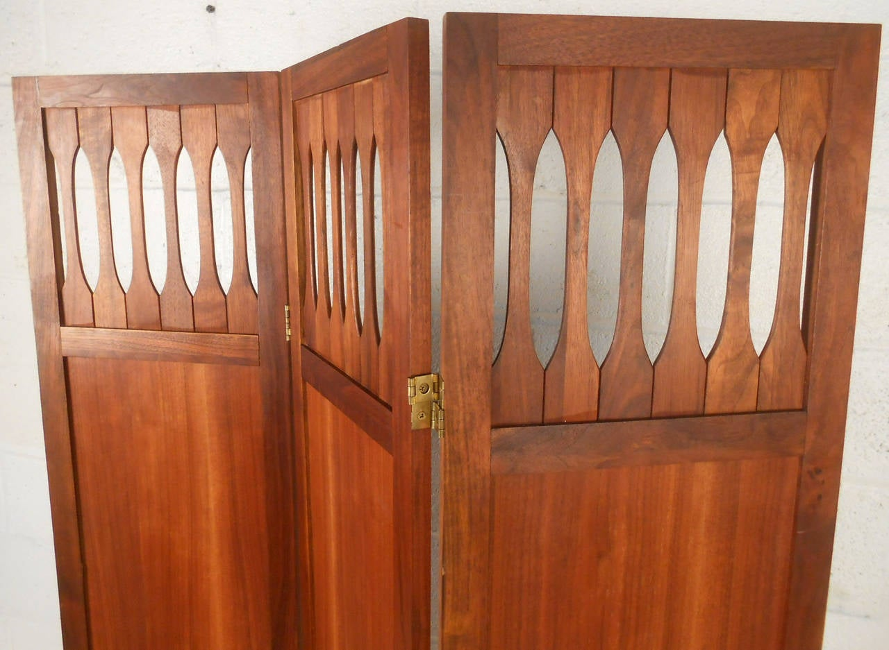 American Mid-Century Modern Walnut Room Divider with Brass Trim For Sale
