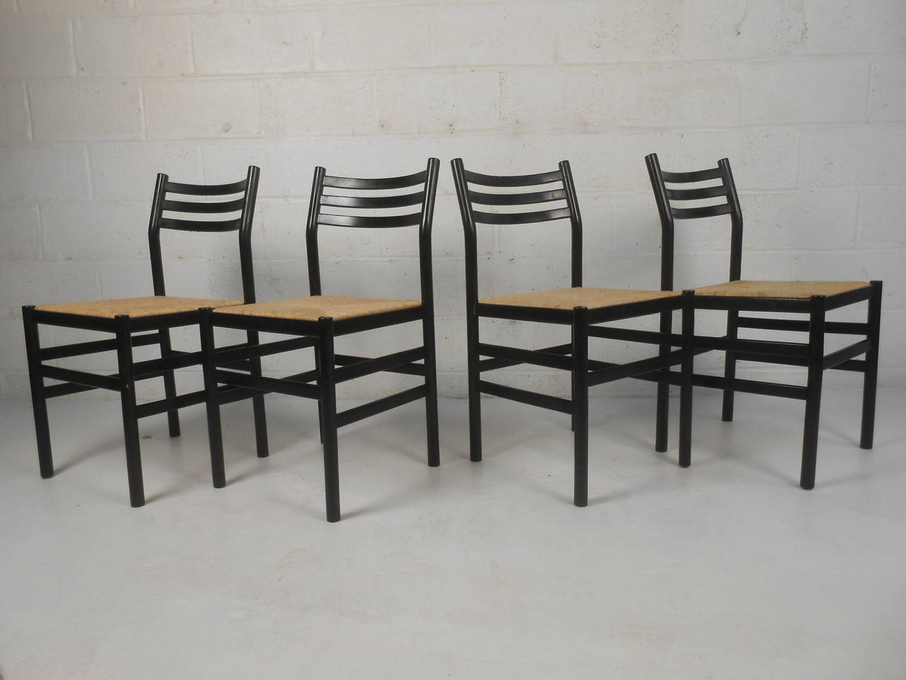 Set of Four Rush Seat Chairs 3