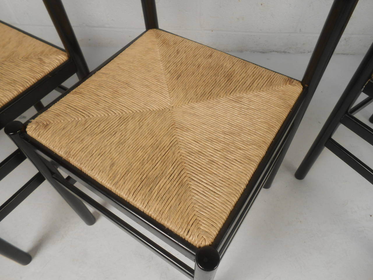 Set of Four Rush Seat Chairs 2