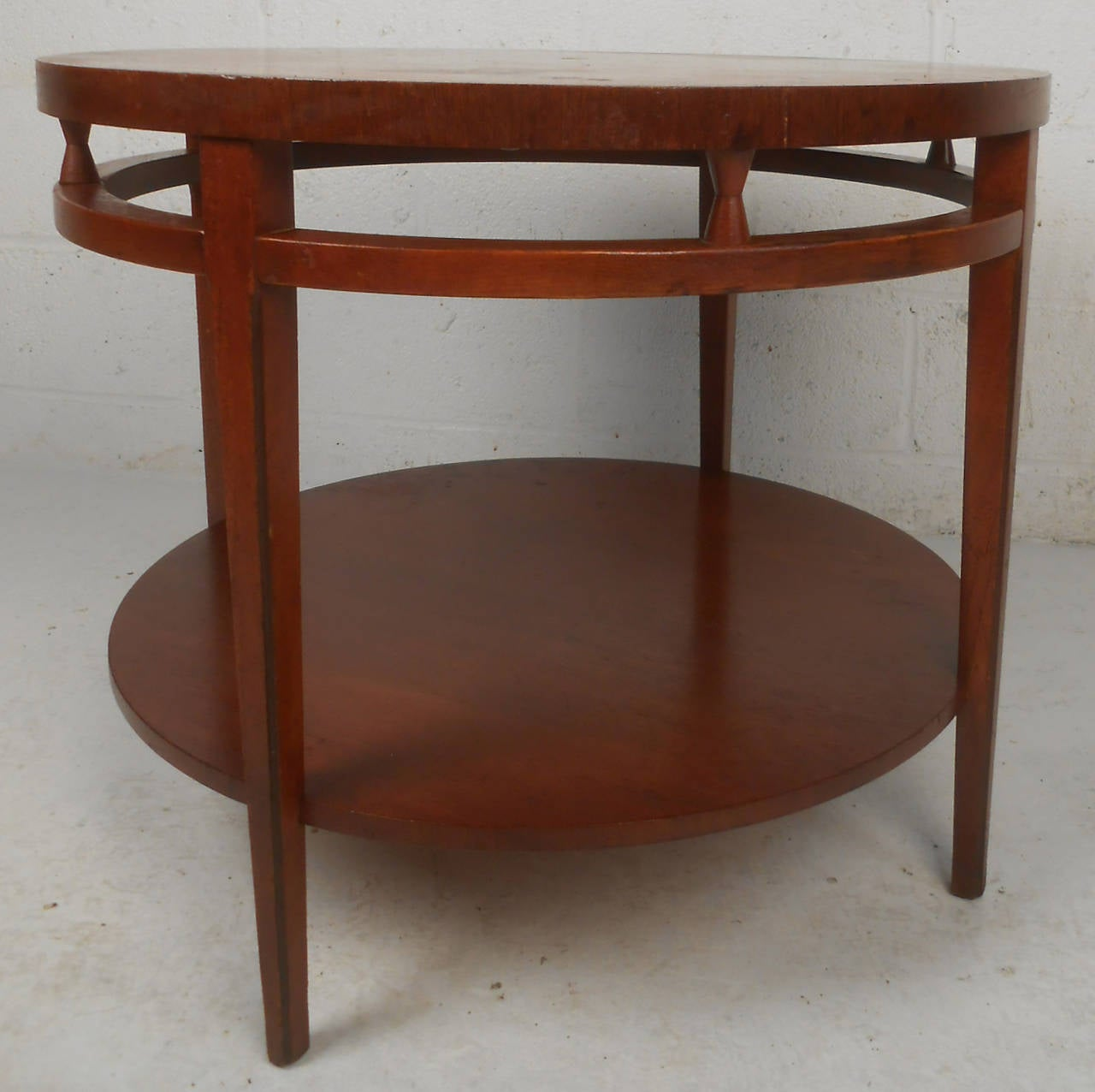 Vintage Mid Century Modern Small Coffee Table Cocktail: Midcentury Lane Style Two-Tier Round Coffee Table For Sale