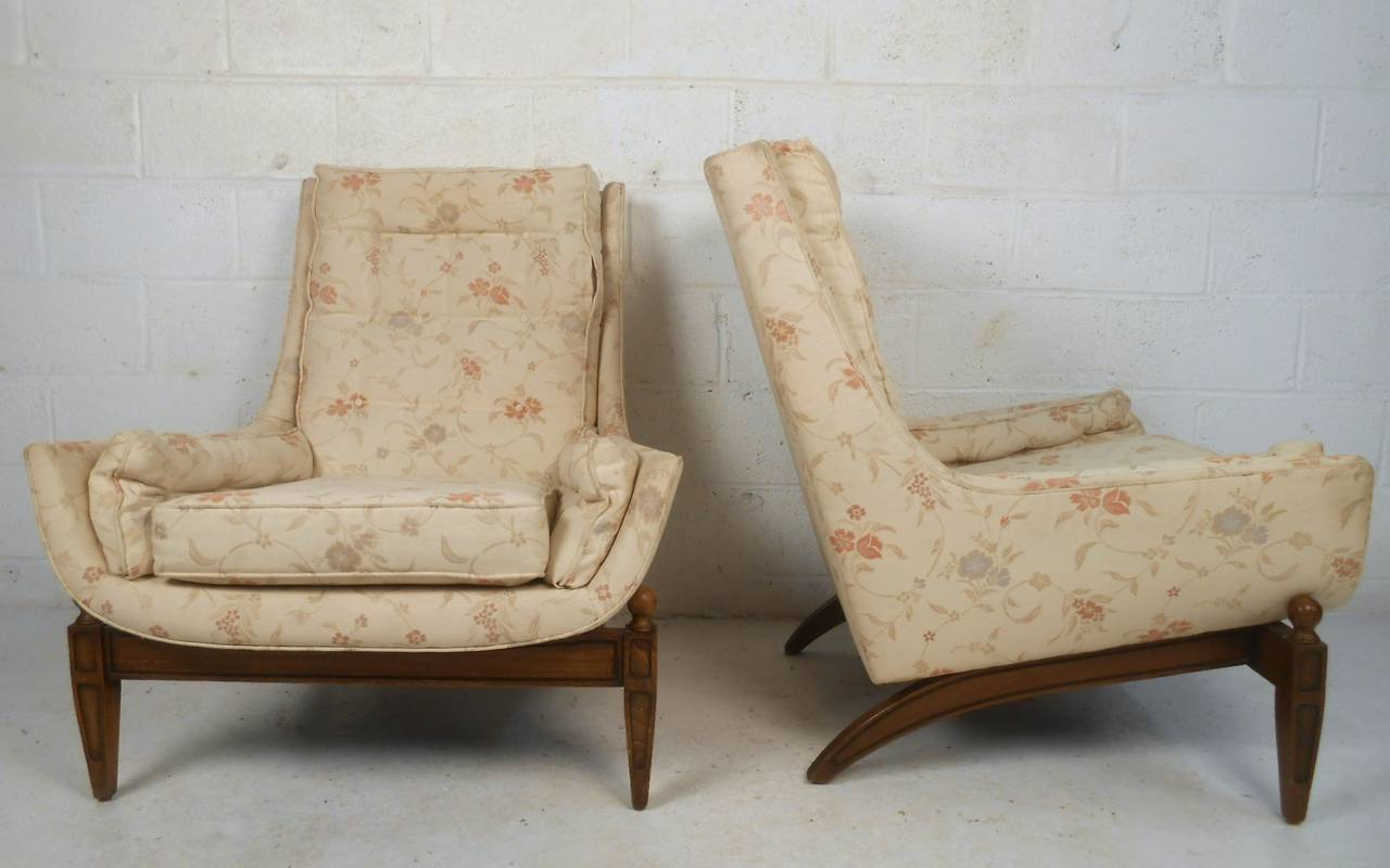 Mid-Century Modern Midcentury His and Her's Lounge Chairs with Ottoman For Sale