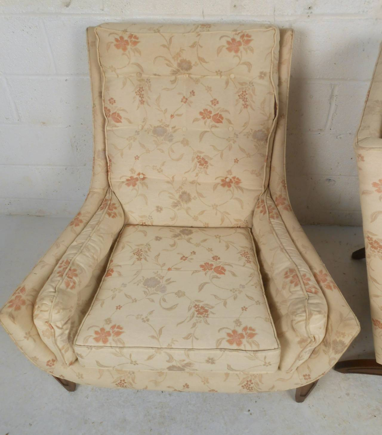 Late 20th Century Midcentury His and Her's Lounge Chairs with Ottoman For Sale