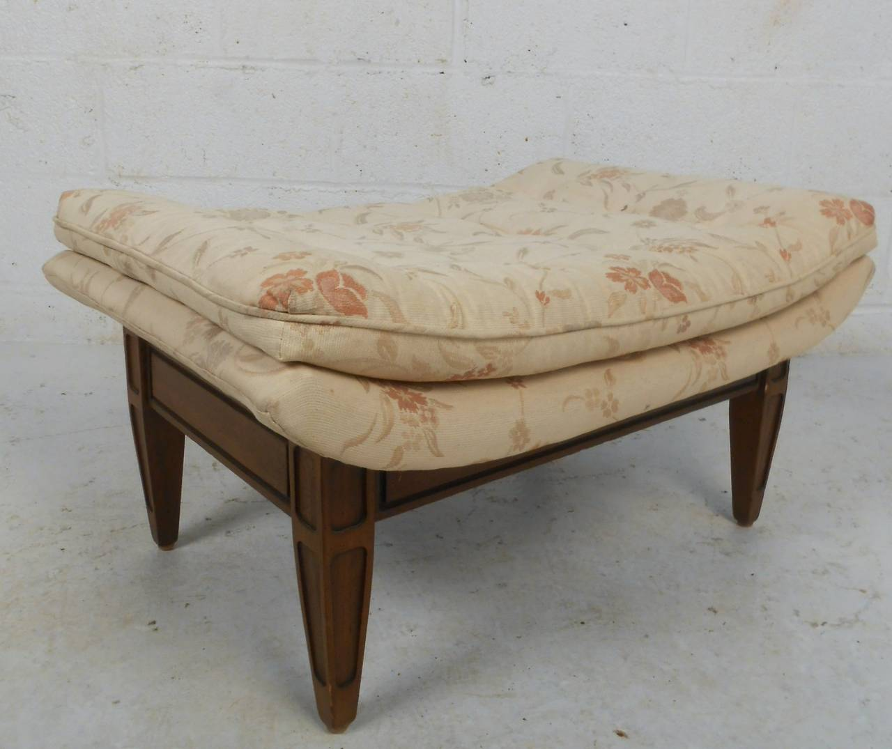 Upholstery Midcentury His and Her's Lounge Chairs with Ottoman For Sale
