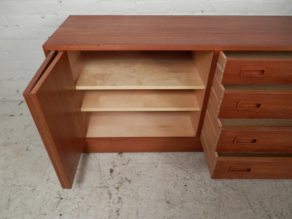 Mid Century Danish Modern Teak Dresser For Sale 5