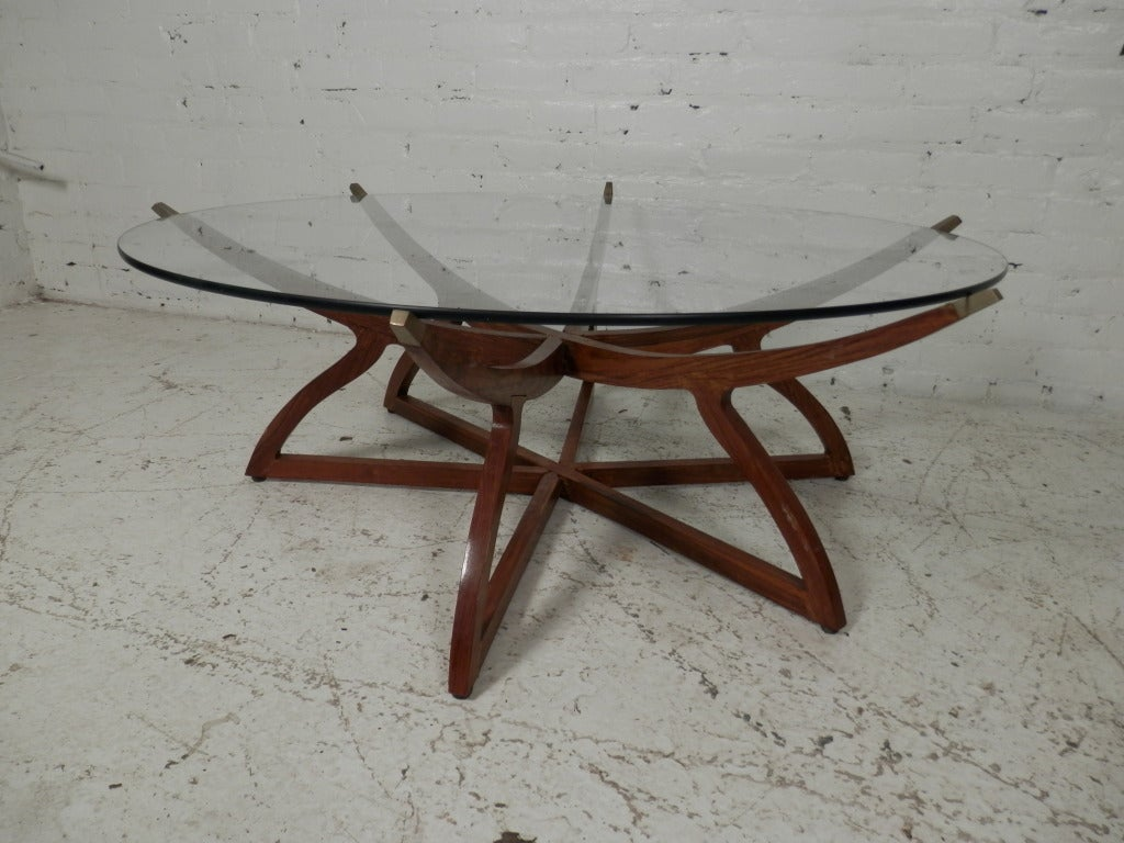 Stunning teak and brass glass top folding coffee table at for Folding coffee table