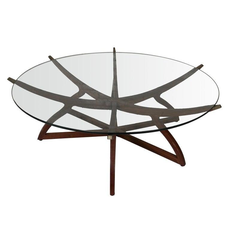 Stunning teak and brass glass top folding coffee table - Folding glass coffee table ...