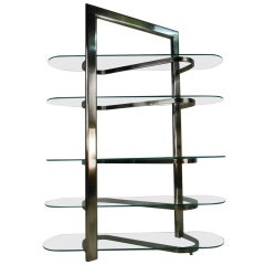 Modern Chrome and Glass Etagere or Display Shelf