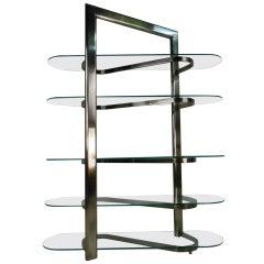Modern Chrome and Glass Etagere or Display Shelf