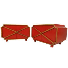 Stylish Red and Gold Bedside Tables by Henredon