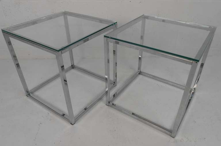 Pair Of Chrome And Glass Cube Tables At 1stdibs