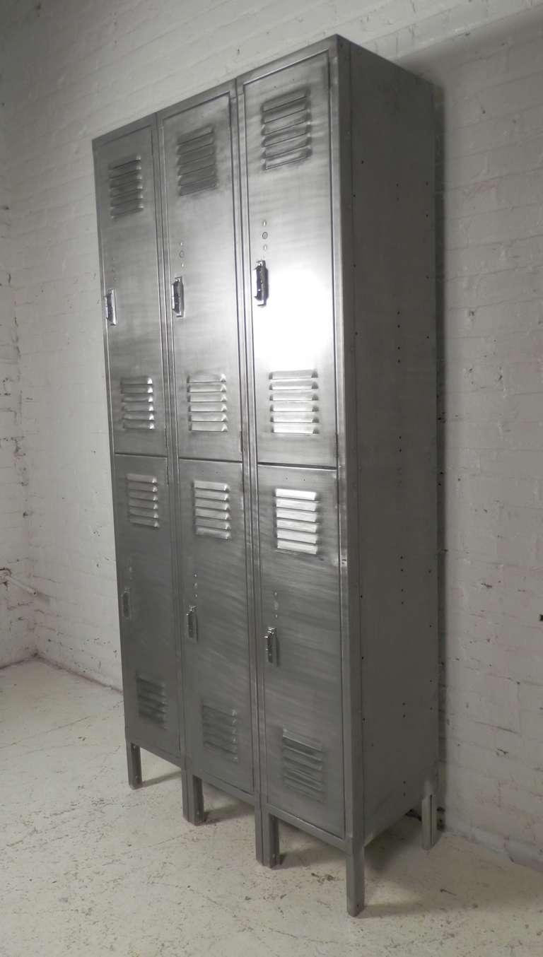 Vintage Locker Set In Brushed Metal Finish At 1stdibs