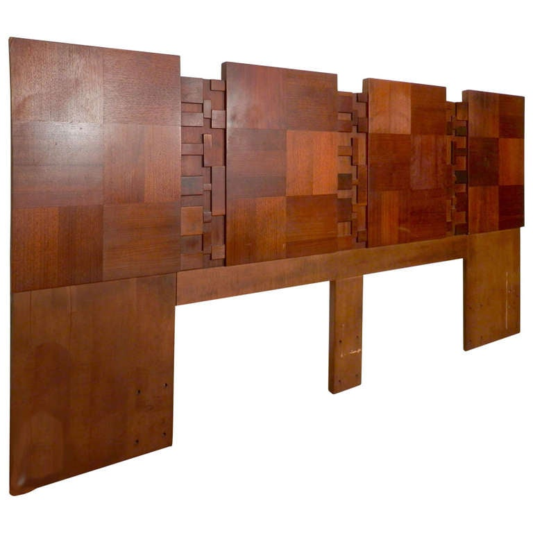 Brutalist Style Mid Century Modern Headboard By Lane For Sale