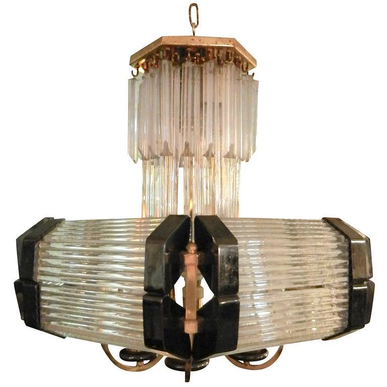 Sciolari Style Mid-Century Modern Glass Chandelier For Sale