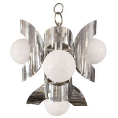 Vintage Mid-Century Modern Polished Chrome Chandelier