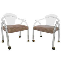 Pair of Mid-Century Modern Lucite Side Chairs
