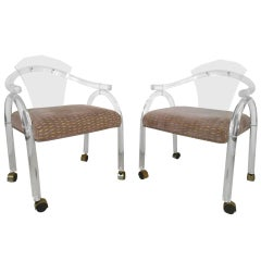 Vintage Lucite Rolling Chairs
