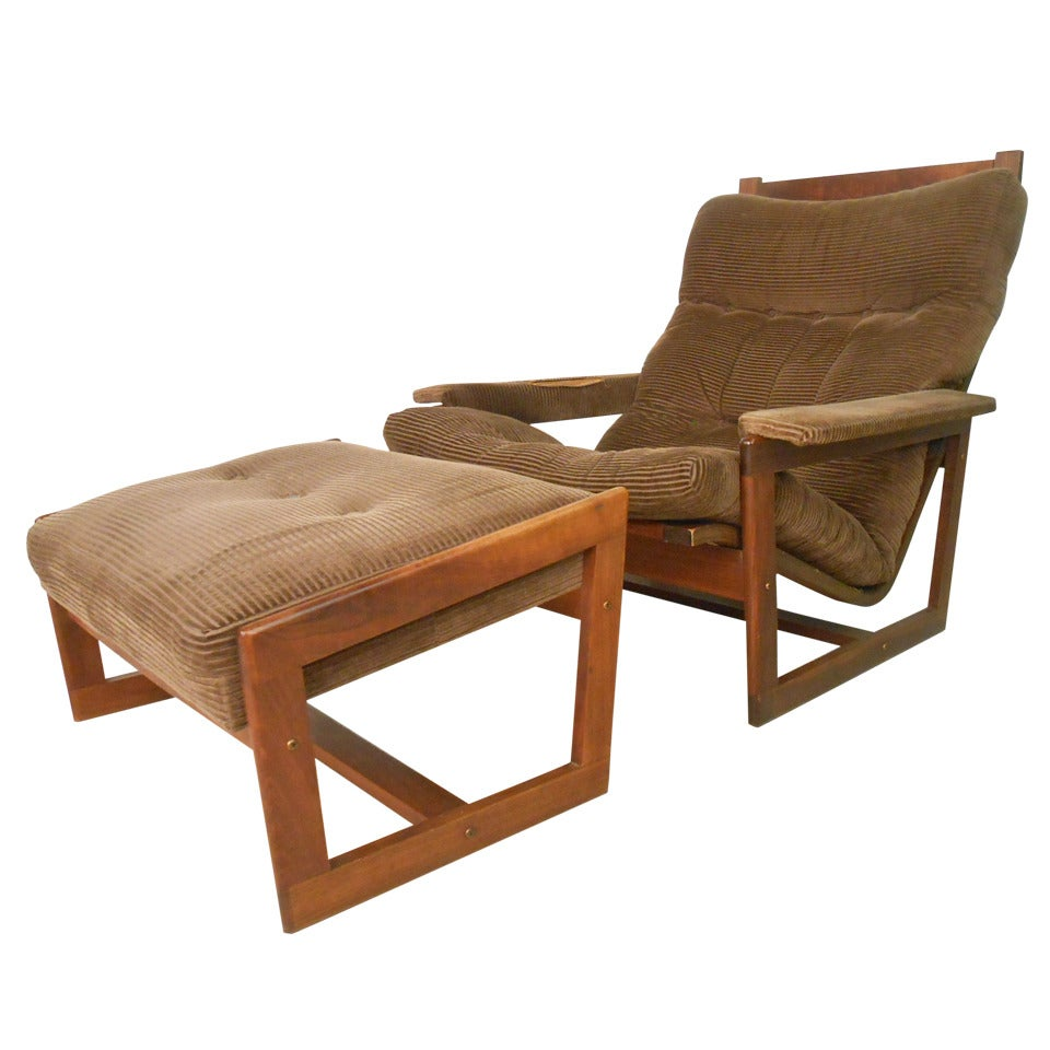Midcentury Lounge Chair and Ottoman Set